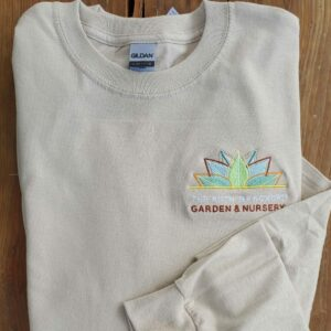 tan long sleeve logo shirt