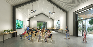 Interior rendering of a workshop inside the new Visitor & Education Center by Robert Becker of Digital Frontier.