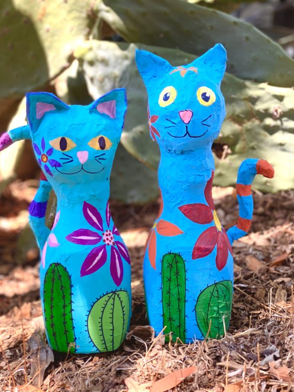 Blue cat paper mache craft