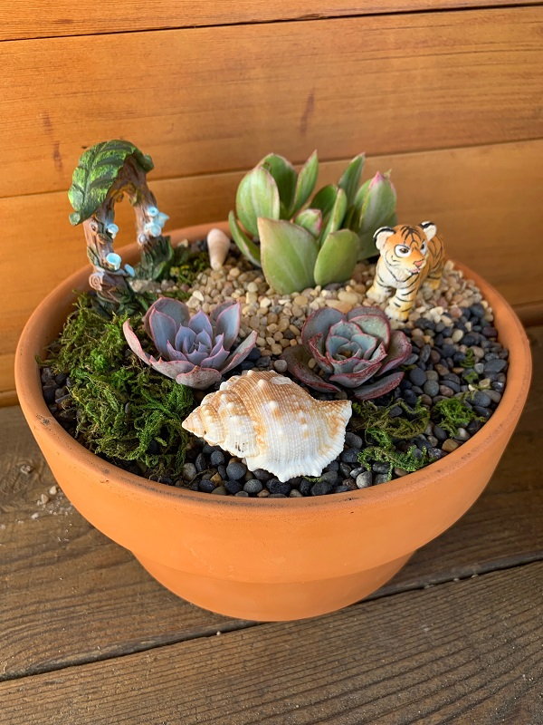 succulents and mini garden accessories in a terra cotta pot
