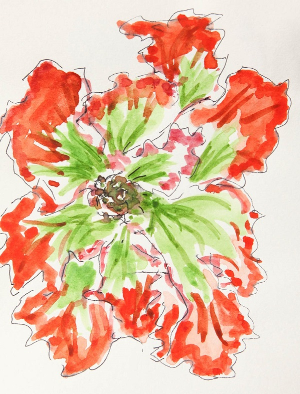 watercolor painting of red flower