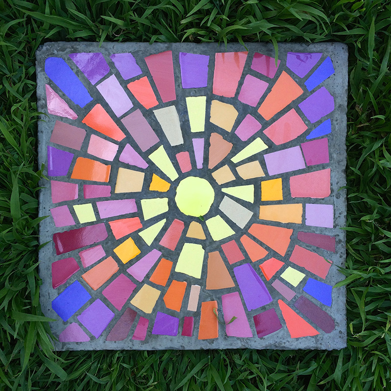 close-up of a beautiful and colorful mosaic tile for the Garden