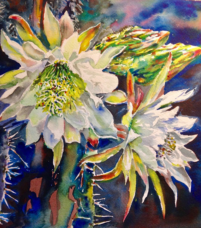 watercolor painting with vibrant white cactus flowers