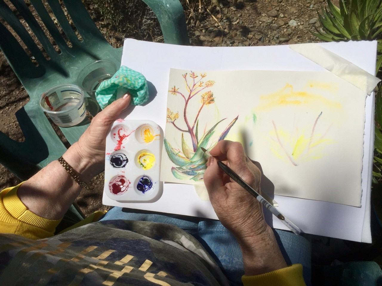 Top view of an artist painting an agave watercolor.