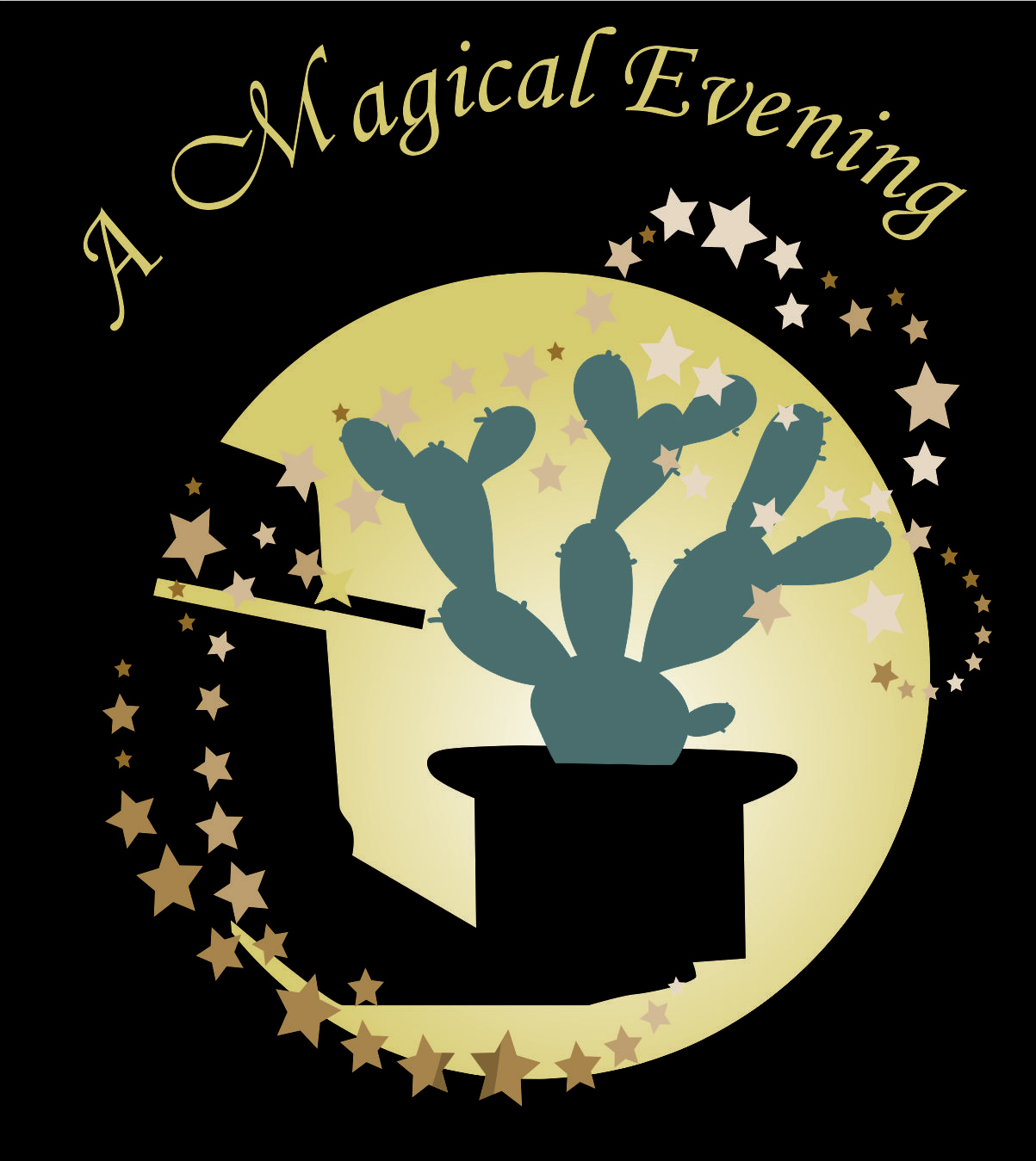 Yellow text which says A magical evening is above a circular graphic of a hand holding a black hat waving a magic wand over a cactus