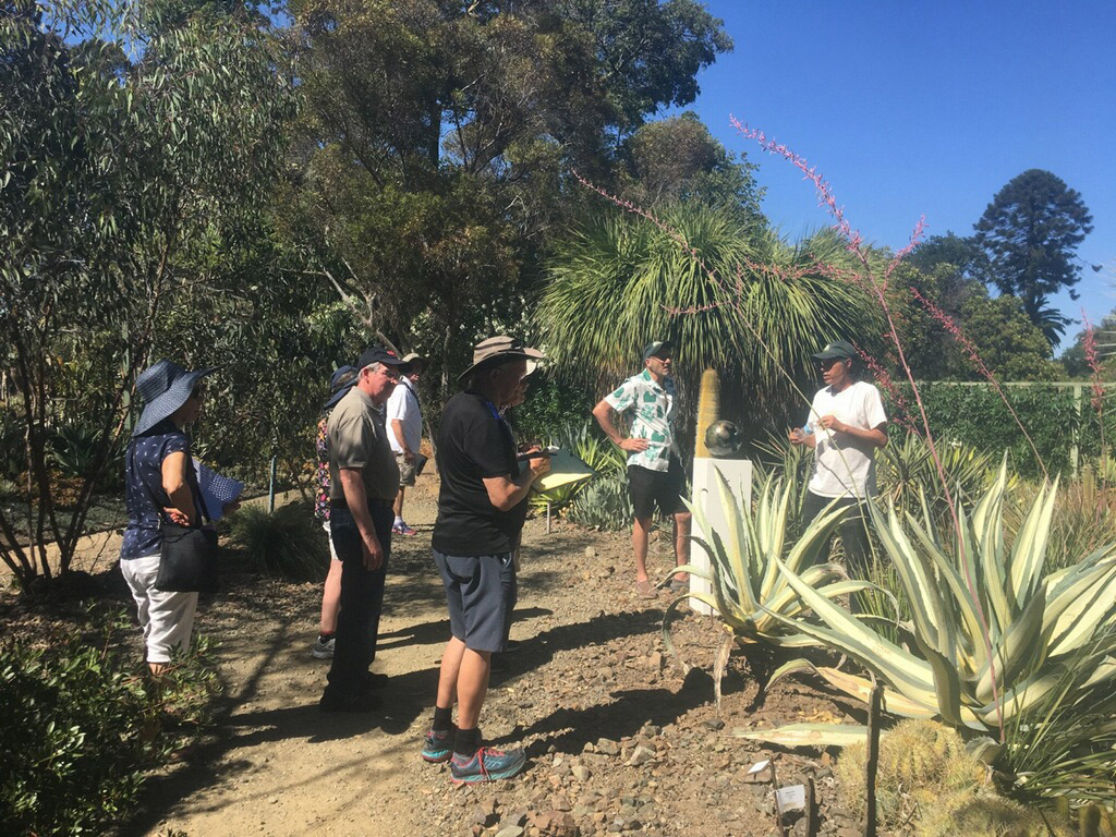 a group of white people taking notes and listening to curator talk about succulents and cactus at the Ruth Bancroft Garden