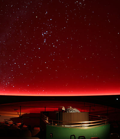 starry dark red sky of the planetarium at chabot space and science center